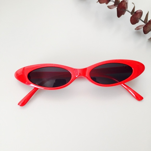 Accessories | Vintage 90s Red Frame Narrow Cateye Sunglasses | Poshmark